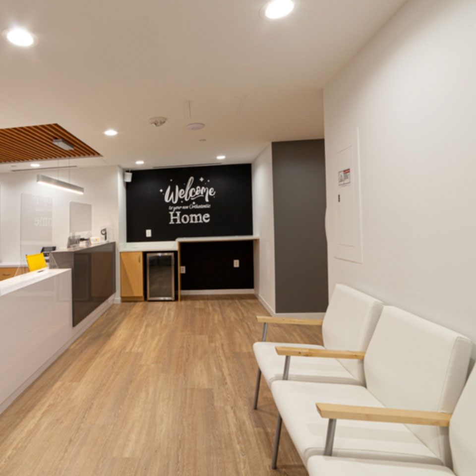 reception area seating at Shin Orthodontics in Potomac MD